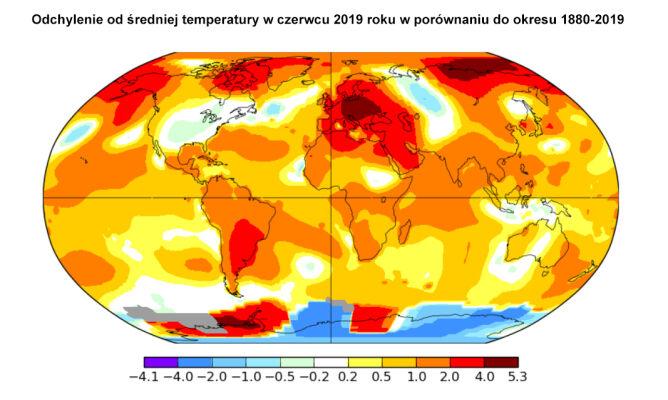 Odchylenie od średniej temperatury w czerwcu 2019 roku w porównaniu do okresu 1880-2019