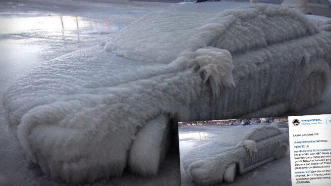 Poszedł obejrzeć mecz. <br />Kiedy wrócił, jego auto wyglądało jak bryła lodu