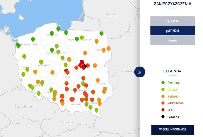 Stężenie pyłu PM2,5 o godz. 11 (tvnmeteo.pl za GIOŚ)