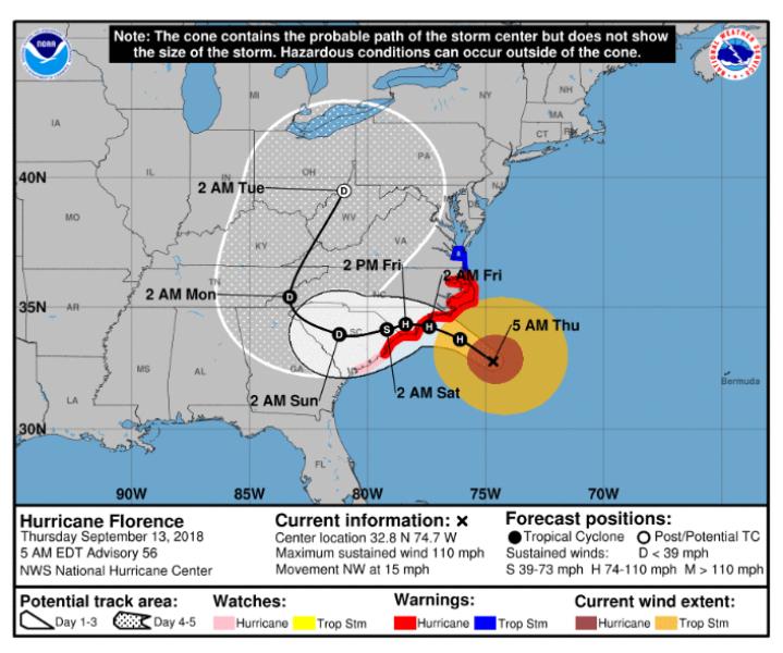 Prognozowana trasa przejścia huraganu Florence - czwartek godzina 11.00 (NOAA)