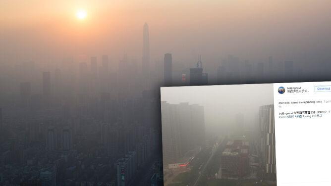 Pomarańczowy alarm smogowy w Chinach. <br />Zamknięte drogi, opóźnione loty