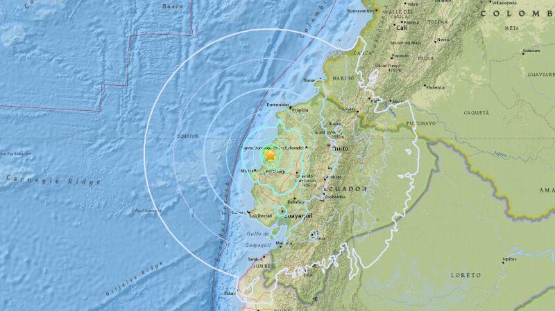 W niedzielę w Ekwadorze wystąpiło trzęsienie ziemi (USGS)
