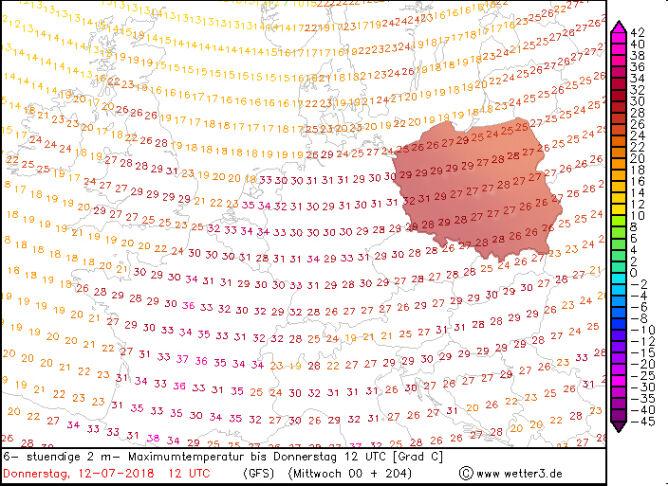 Temperatura w czwartek 12 lipca po południu (model GFS/wetter3.de)