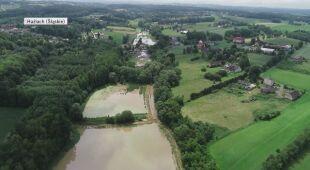 Podtopienia w Hażlach z perspektywy drona